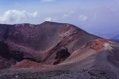 Big crater on Mount Etna, active volcano on the east coast of Sicily, Italy stock photo