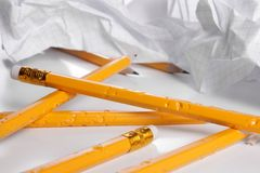 Big creativity crisis. Chewed pencils and crushed paper Royalty Free Stock Image