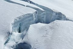 Big crevasse on the Aletsch glacier Royalty Free Stock Images
