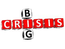 Big Crisis Crossword. 3D Big Crisis Crossword on white background Royalty Free Stock Image