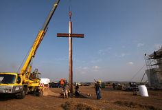 Big cross on place for Pope in Brno Stock Images