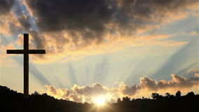 Big Cross at sunset stock video footage