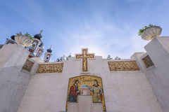 Big cross and water spring at orthodox Curchi monastery in Moldova Royalty Free Stock Photos