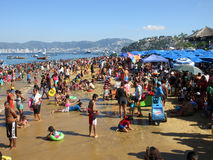 Big Crowd at Acapulco Pubic Beach Royalty Free Stock Photography