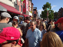 Big Crowd on Adams Morgan Day. Photo of people and colorful buildings in adams morgan in washington dc on 9/13/15 on adams morgan day.  This diverse neighborhood Royalty Free Stock Image