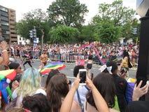 Big Crowd at the Capital Pride Parade. Photo of men and women at the capital pride parade in washington dc on 6/9/18.  This parade takes place at dupont circle Royalty Free Stock Photos
