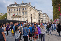 Big Crowd at the Champs Elysees Royalty Free Stock Images