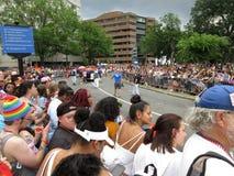 Big Crowd at Dupont Circle at the Capital Pride Parade. Photo of men and women at the capital pride parade in washington dc on 6/9/18.  This parade takes place Stock Image