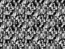 Big crowd happy people black and white seamless pattern. Stock Images