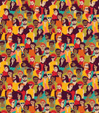 Big crowd happy people color seamless pattern. Stock Photography