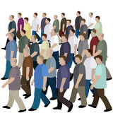 Big crowd of men moving to the common direction Stock Image