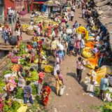 Big crowd of moving people on the Mullik Ghat Flower Market. KOLKATA, INDIA - MARCH 13: Big crowd of moving people on the Mullik Ghat Flower Market on March 13 Royalty Free Stock Photos