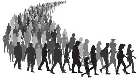 Free Big Crowd Of People Go Queue. People Stand In Line At The Store. Group Of Refugees Migration Crisis In Europe Royalty Free Stock Image - 151893736