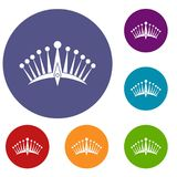 Big crown icons set. In flat circle red, blue and green color for web Royalty Free Stock Images