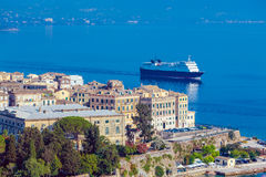 Big cruise boat near Corfu city Stock Photo