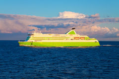 Big cruise liner. Scenic evening seascape with big cruise liner Royalty Free Stock Image