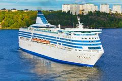 Big cruise liner in harbor of Stockholm, Sweden Royalty Free Stock Images