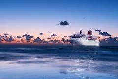 Big cruise liner in Mediterranean sea. stock photo
