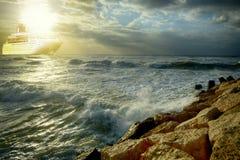 Big cruise liner in Mediterranean stormy sea royalty free stock image