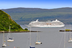 Big cruise liner moored in harbor. stock photos