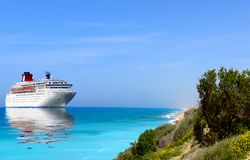 Big cruise liner moored in Mediterranean sea. stock image