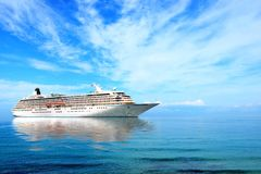 Big cruise liner moored in Mediterranean sea. Sunny day royalty free stock image