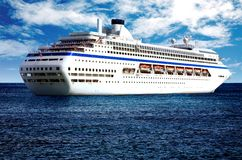 Big cruise liner in open sea Royalty Free Stock Image