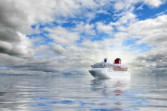 Big cruise liner in an open sea. stock photography