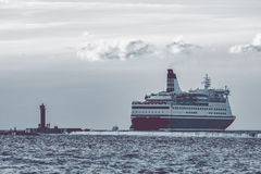 Big cruise liner. Passenger ferry sailing from Riga to Stockholm Stock Photos