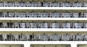 Big cruise liner's cabins. Big cruise liner in Istanbul port Stock Photos