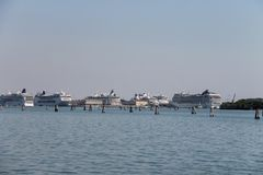 Big cruise liner ships in the Adriatic Sea, Venice, Italy Stock Image