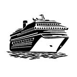 Big cruise liner. Stylized illustration of a large cruise ship on the ocean waves royalty free illustration