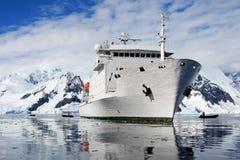 Big cruise ship in Antarctic waters. Antarctica Royalty Free Stock Image