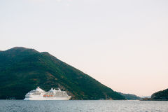 Big cruise ship in the Bay of Kotor in Montenegro. View it from. Perast. A beautiful country to travel stock images