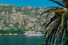 Big cruise ship in the Bay of Kotor in Montenegro. View it from. Prcanj. A beautiful country to travel royalty free stock photo