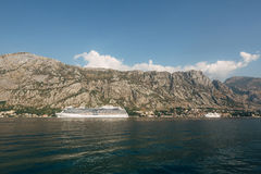 Big cruise ship in the Bay of Kotor in Montenegro. View it from. Prcanj. A beautiful country to travel stock photography