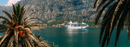 Big cruise ship in the Bay of Kotor in Montenegro. View it from. Prcanj. A beautiful country to travel royalty free stock image
