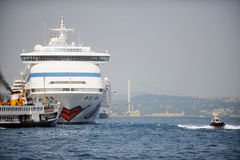 Big cruise ship on Bosphorus strait Stock Images