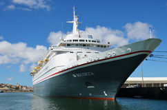 Big cruise ship Boudicca in the port of Luderitz in the early mo Royalty Free Stock Photography