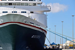 Big cruise ship Boudicca in the port of Luderitz in the early mo Stock Images