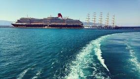 Big cruise ship in Corfu Royalty Free Stock Photos