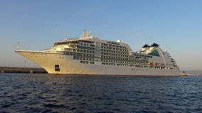 Big cruise ship in harbor Palamos in Spain, Seabourn Encore from Bahamas , length 210m, passengers 592 stock footage