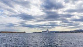 Big cruise ship in harbor Palamos in Spain, Seven Seas Voyager. Length 206m,  August 08, 2017 Spain , Seven Seas Voyager is a cruise ship for Regent Seven Seas stock footage