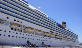 Big cruise ship in malta port. Cruise ship is docked at Port royalty free stock image