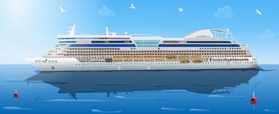 Big cruise ship. In ocean. EPS 10 format royalty free illustration
