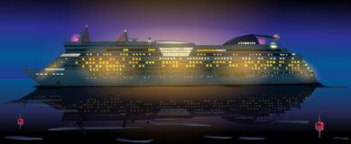 Big cruise ship. In ocean at night. EPS 10 format Royalty Free Stock Photo