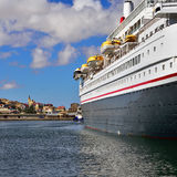 Big cruise ship in the port of Luderitz in the early morning Stock Image