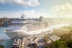 Big cruise ship in port Stock Images