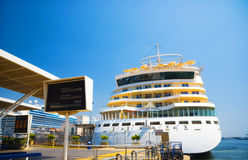 Big cruise ship in a quay Stock Image