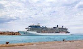 Big cruise ship in the sea port, Rhodes Island - Greece Stock Image